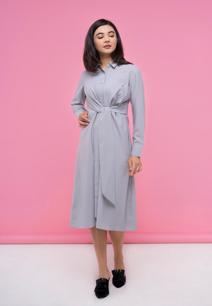 Front Knot Grey Dress