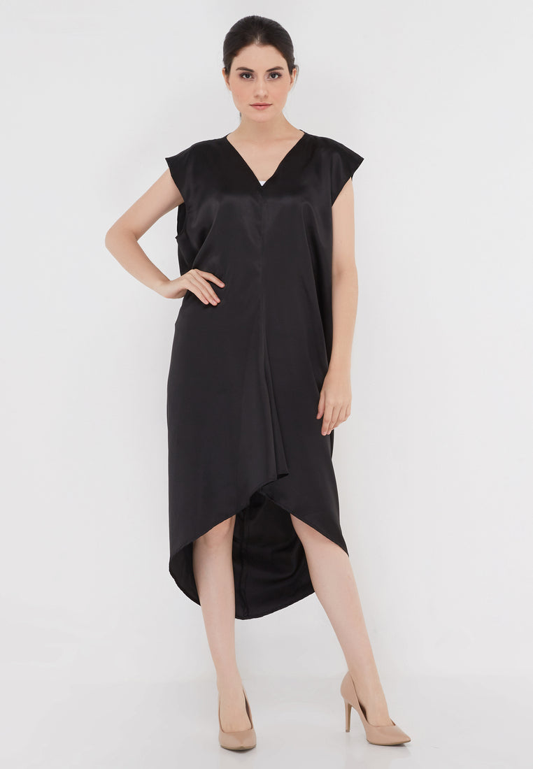 High Low Sleek Dress - Black