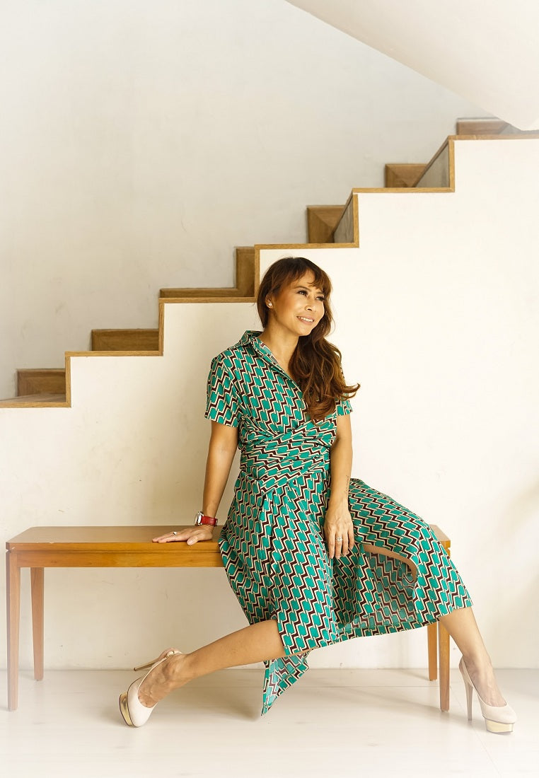 Mid Length Pattern Dress With Tie- Up Belt - Green