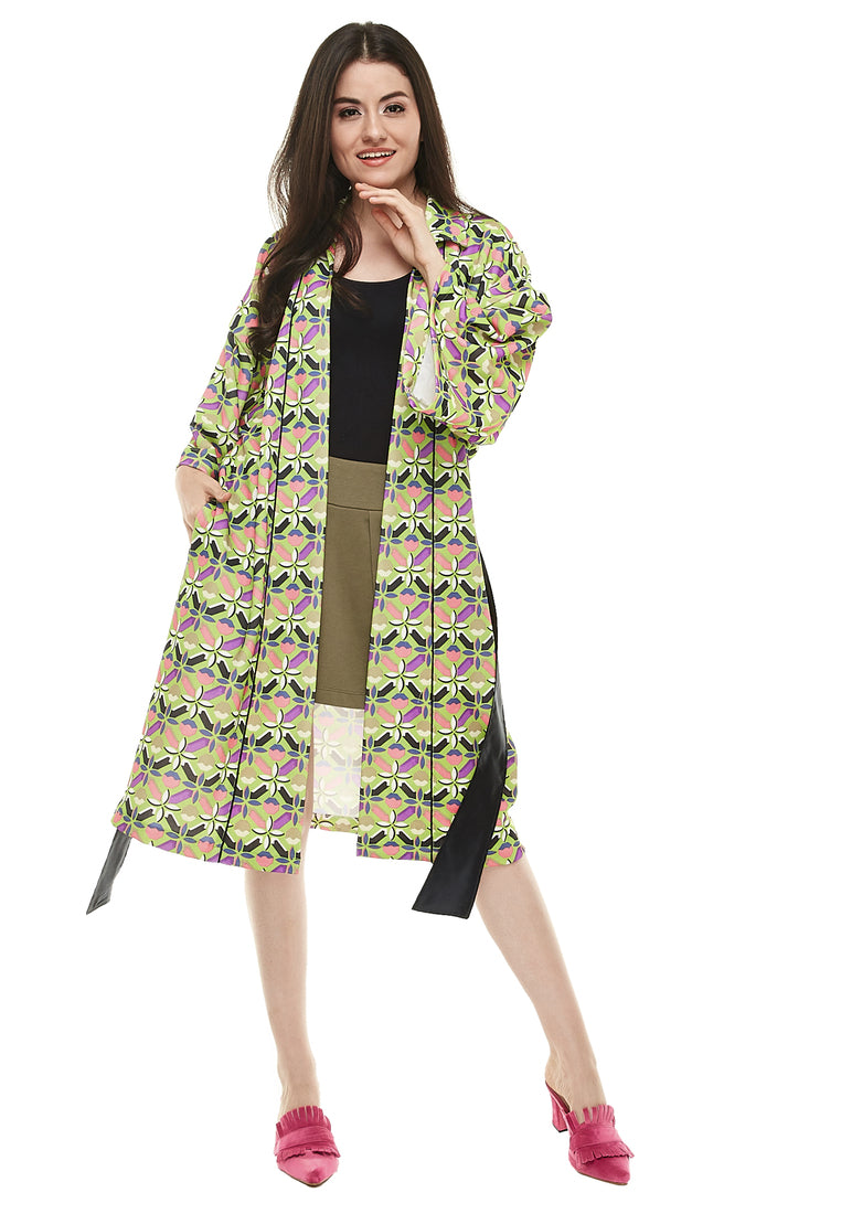 Fancy Pattern Light Coat - Green