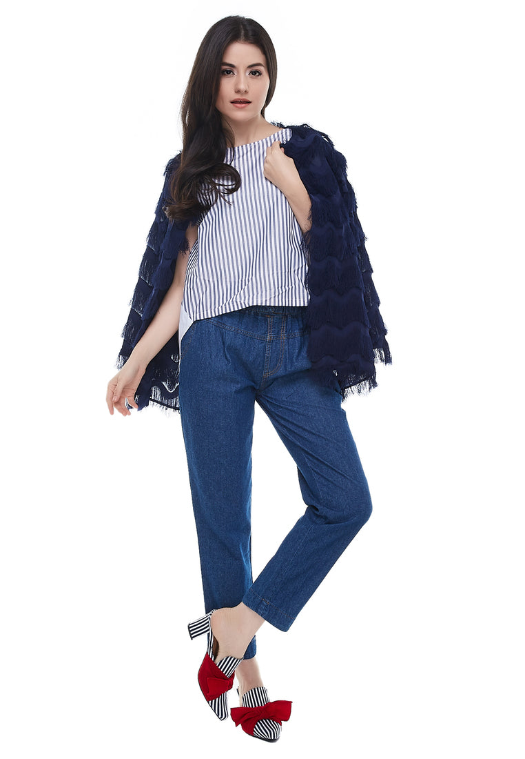 Feather Crop Cardigan - Navy