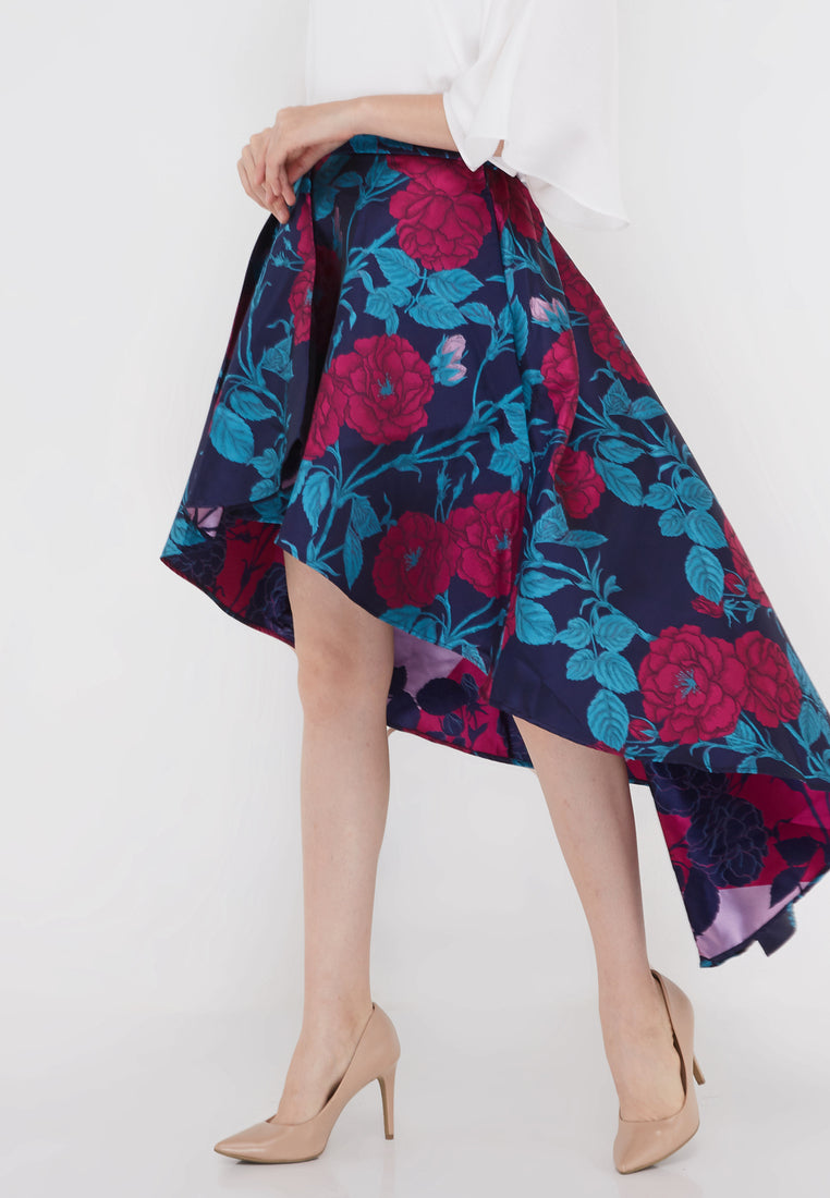 High Low Floral Party Skirt - Multiple Color