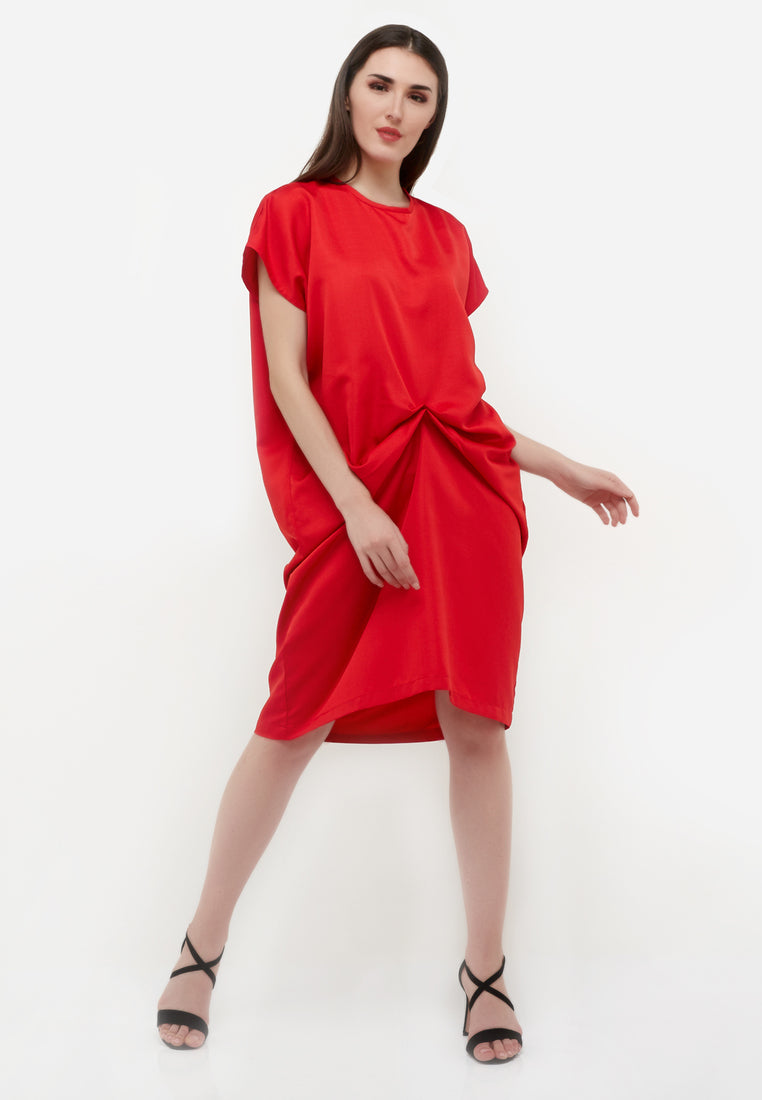 Front Detail Midi Dress - Red