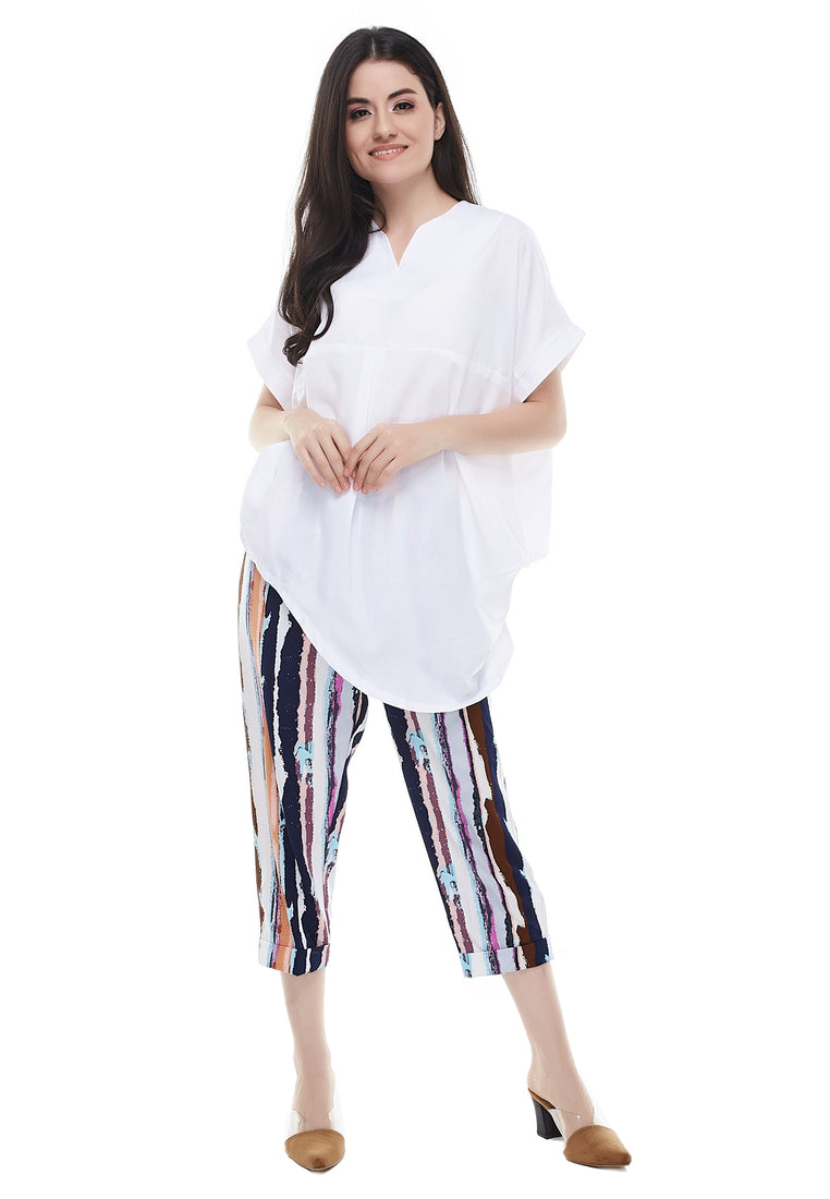 Front Drapes Blouse - White