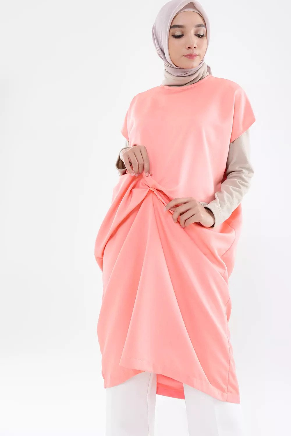 Front Detail Midi Dress - Peach