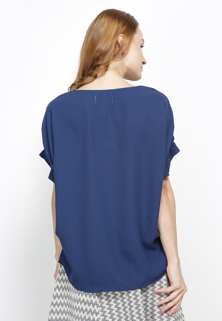Boxy Blouse With Side Detail - Navy