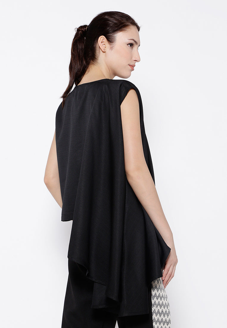 One Side Drapes Blouse - Black
