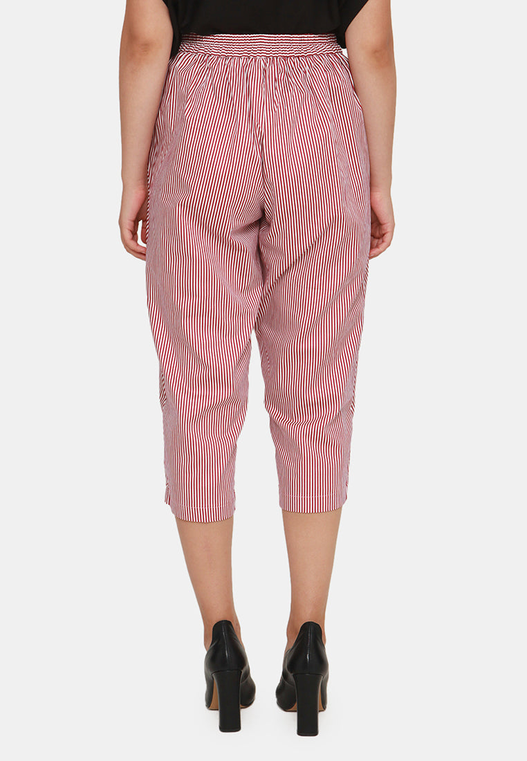 Everyday Capri Stripe Pants - Red & White