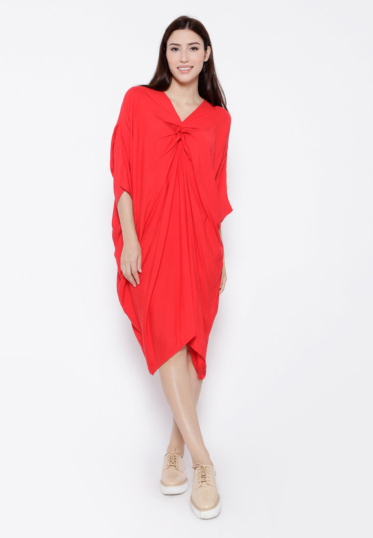 Oversized Drapes Dress - Red