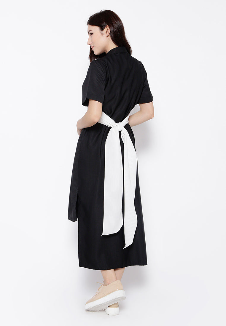 Two Tone Wrap Dress - Black & White