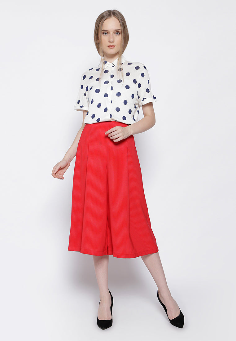 Midi Culottes Pants - Red