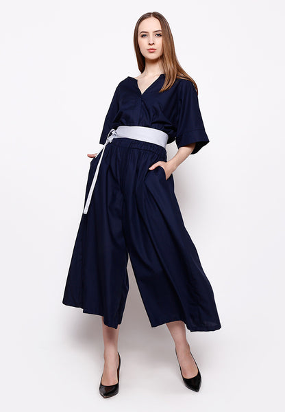 Wide Leg Jumpsuit - Navy