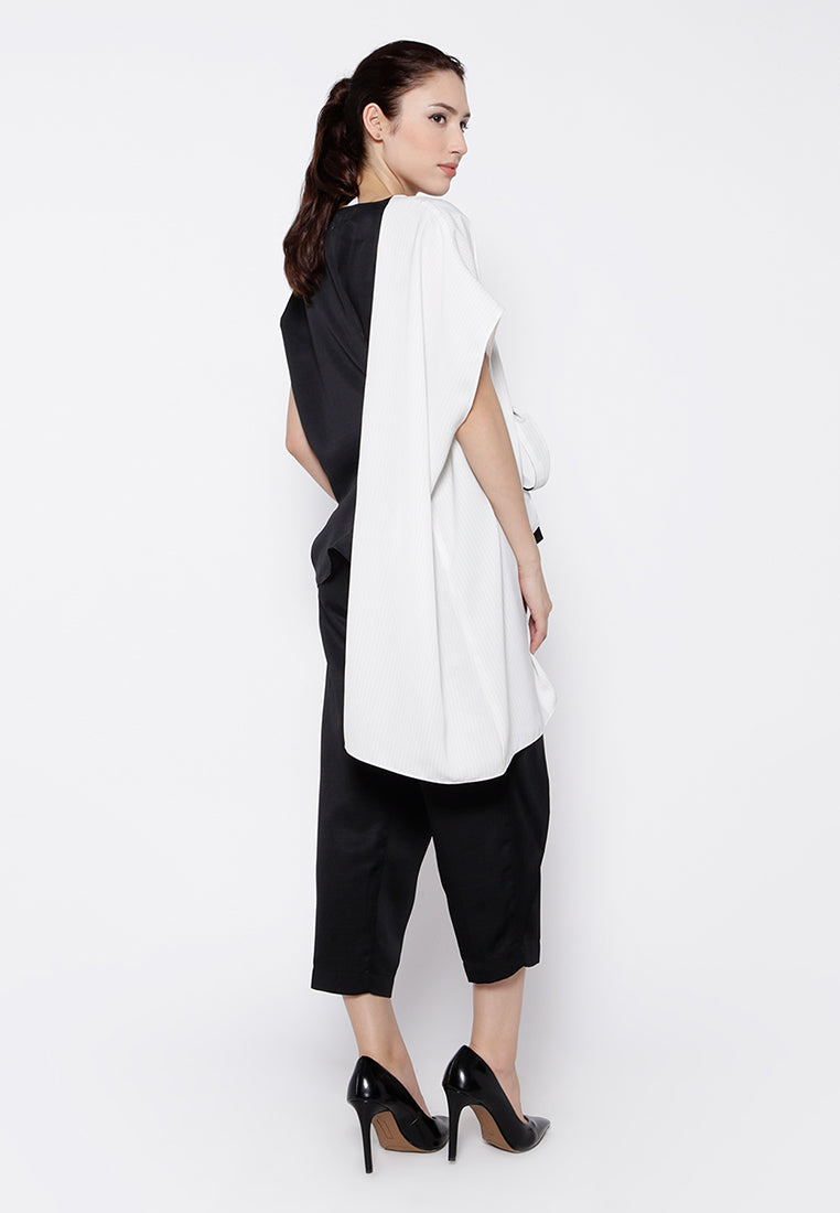 Two Ways Blouse - Black & Stripe