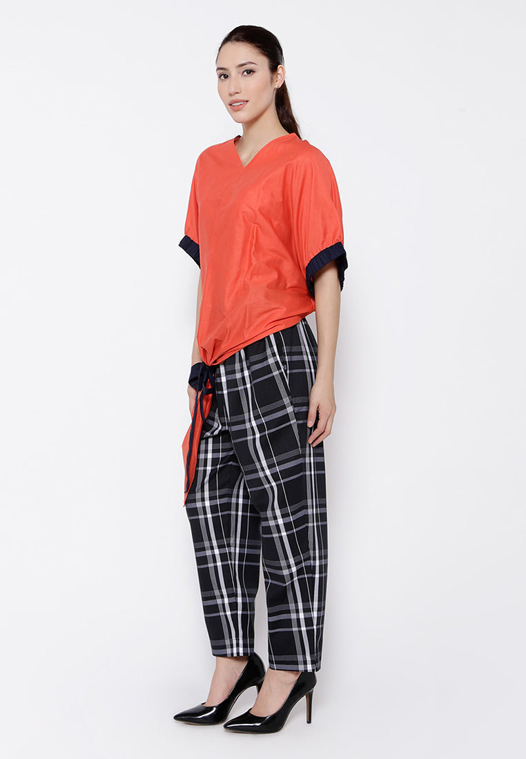 Oversized Blouse With Tie- Up Bow - Orange