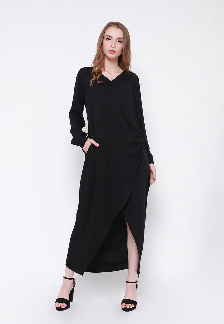 Outer - Wrap Dress Black (RESTOCK)