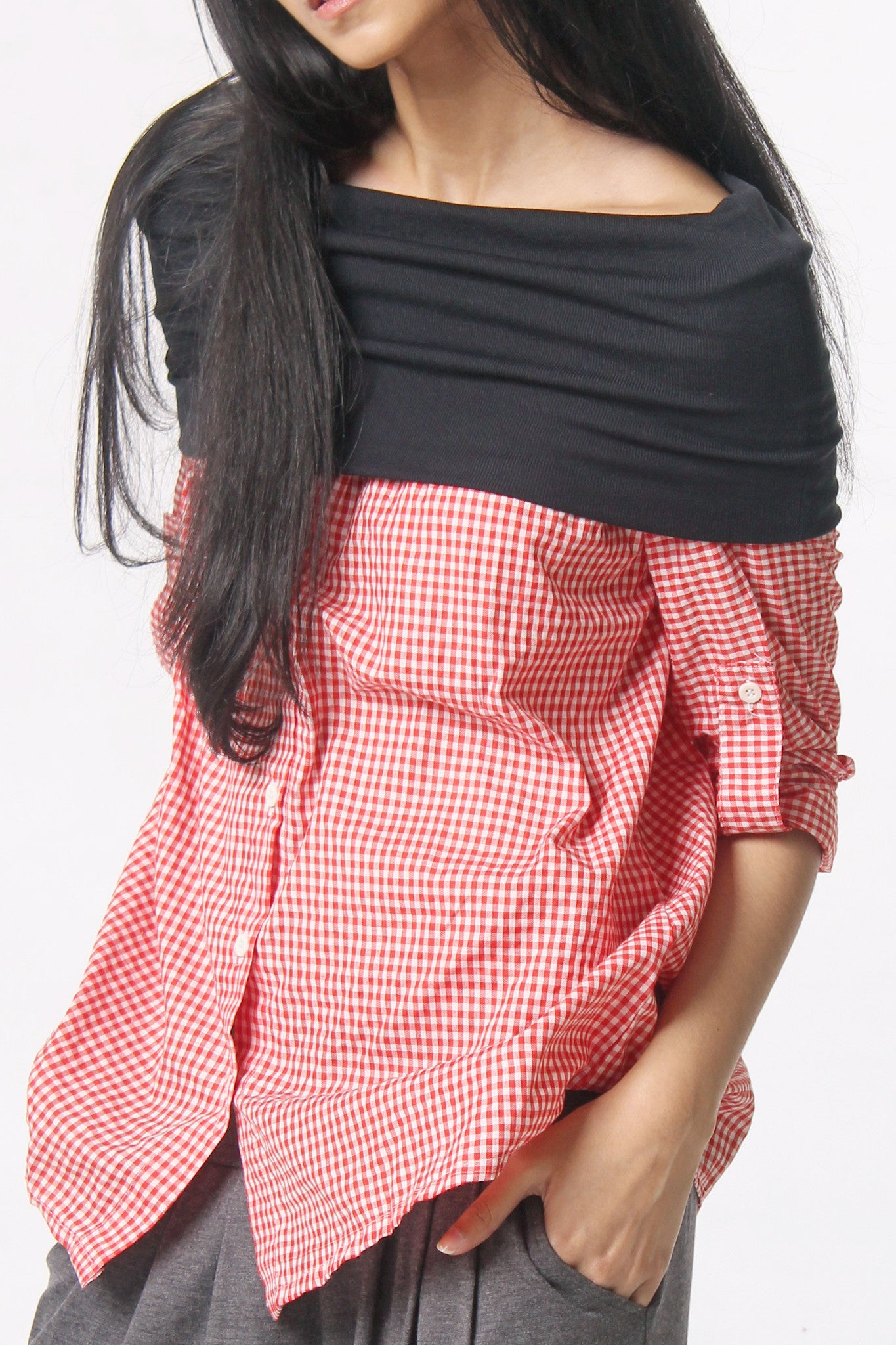 Sabrina Long Sleeves - Checkered Shirt Red