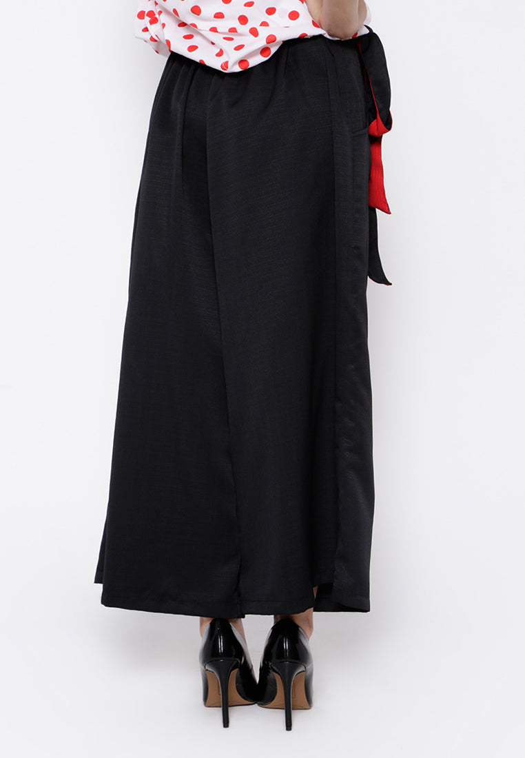 Two Color Belt Culottes - Black