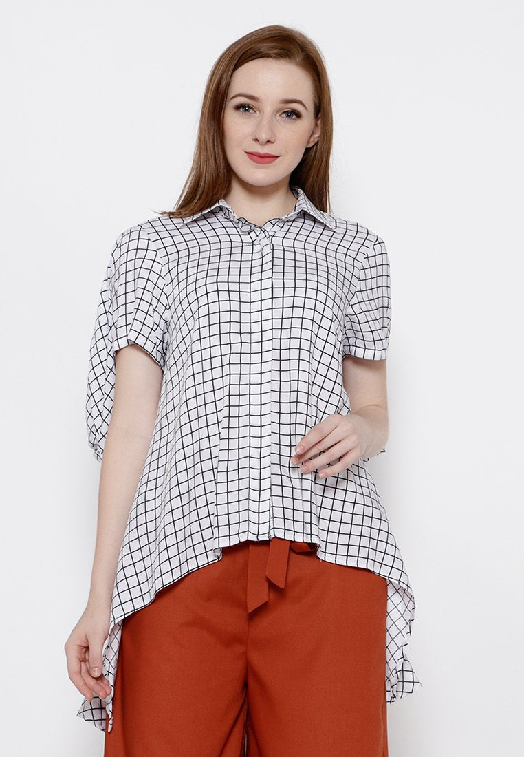 Plaid Handkerchief Shirt - White & Black