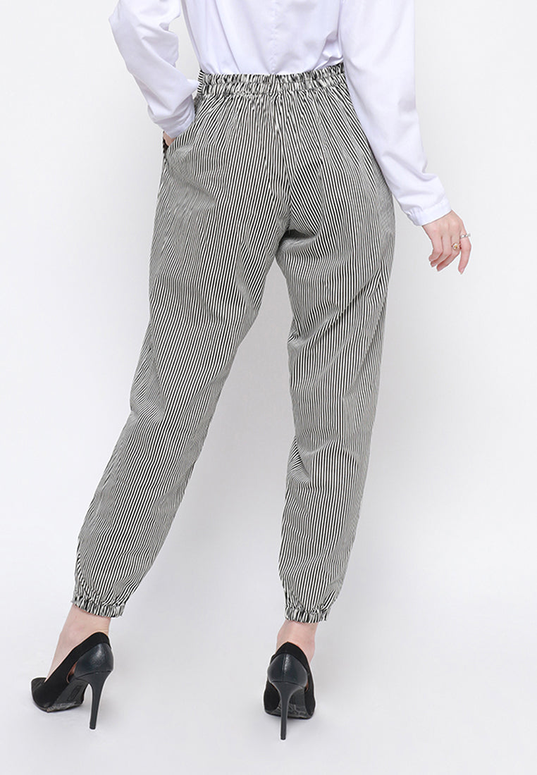 Stripe Office Pants  Black & White