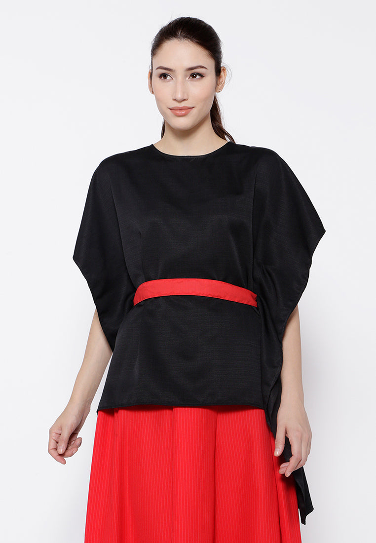 Boxy High Low Blouse - Black