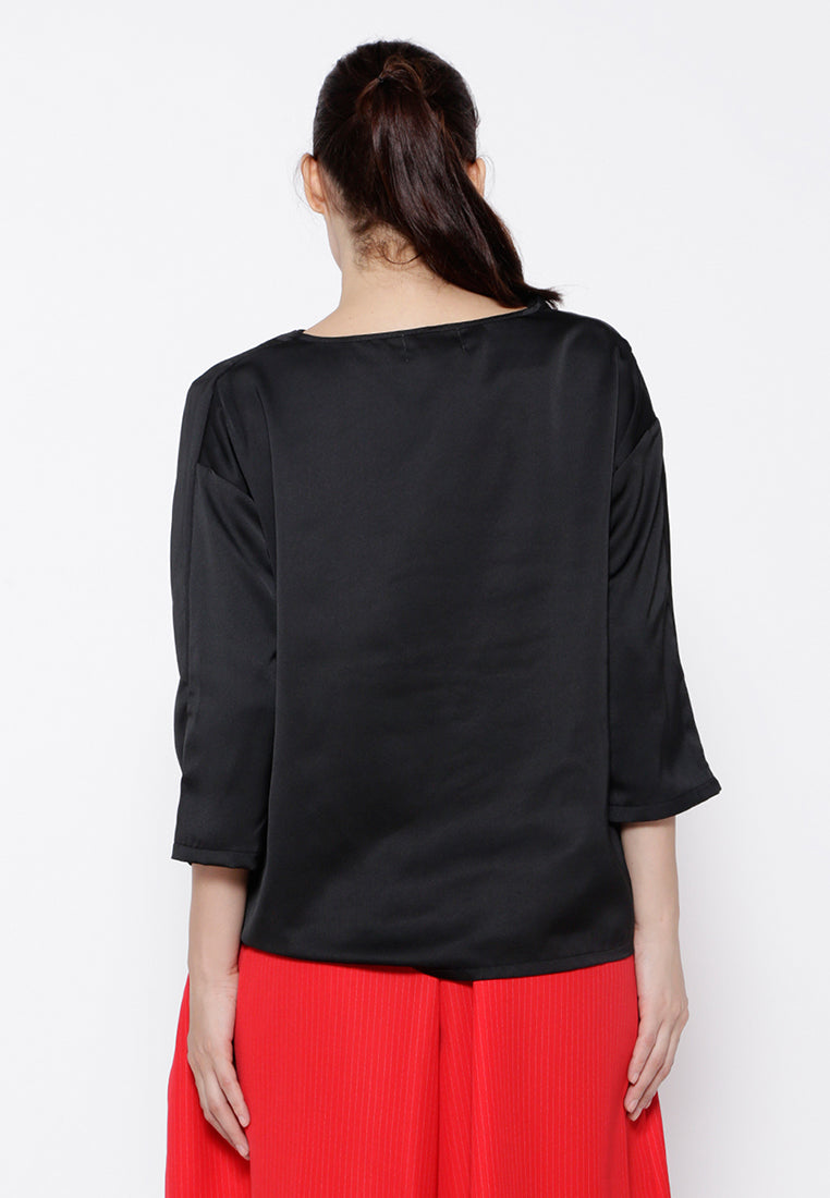 Drappery Blouse - Black