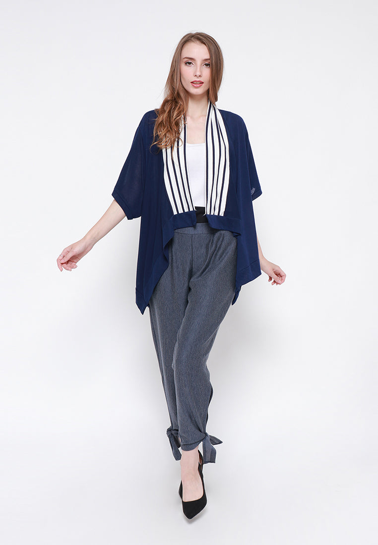 Two Tone Cardigan - Navy