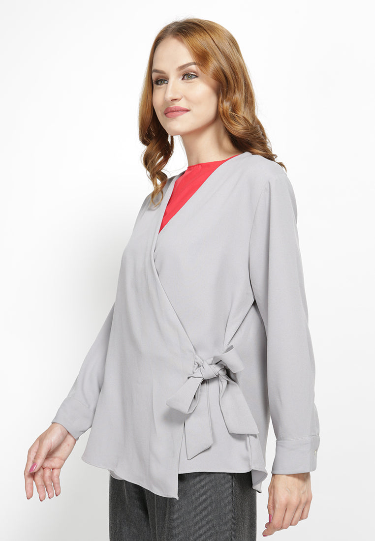 Tie-Up Cardigan Grey