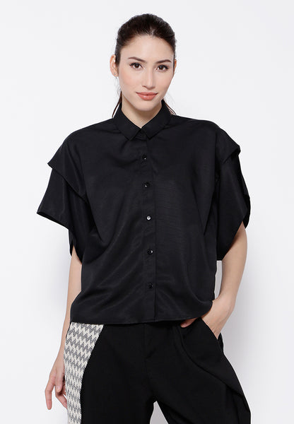 Layer Sleeves Blouse - Black