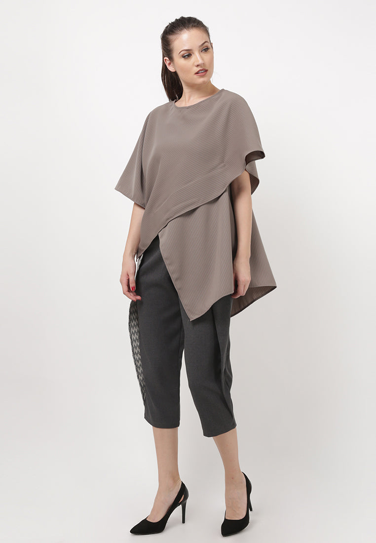 Oversized Drapped Blouse - Brown