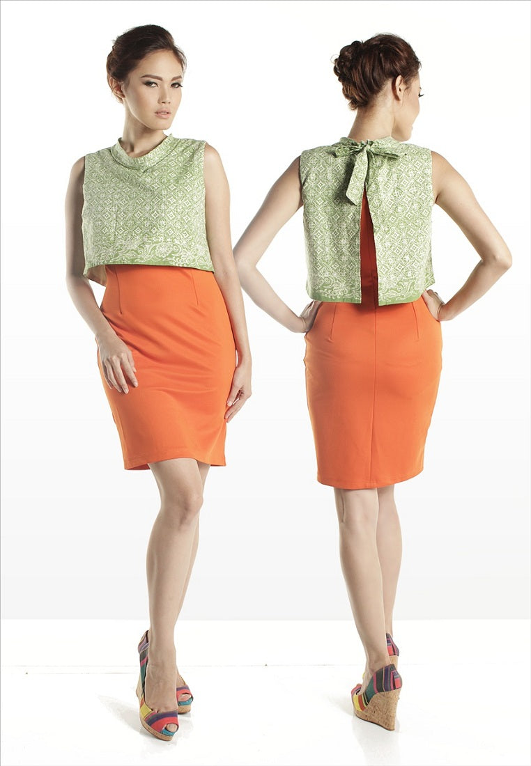 SAMPLE SALE - Sleeveless Midi Dress Orange & Green Batik