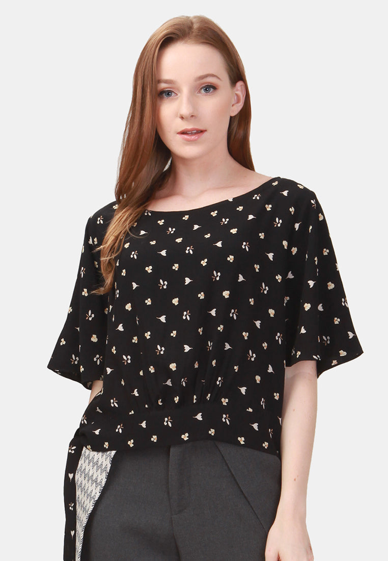 Chic Floral Blouse - Black
