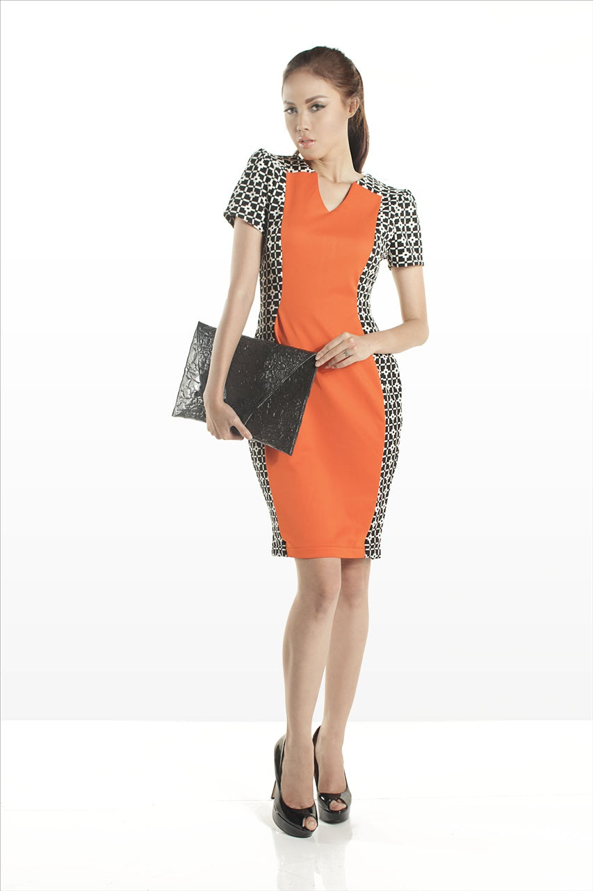 SAMPLE SALE - Sleeveless Midi Dres Orange