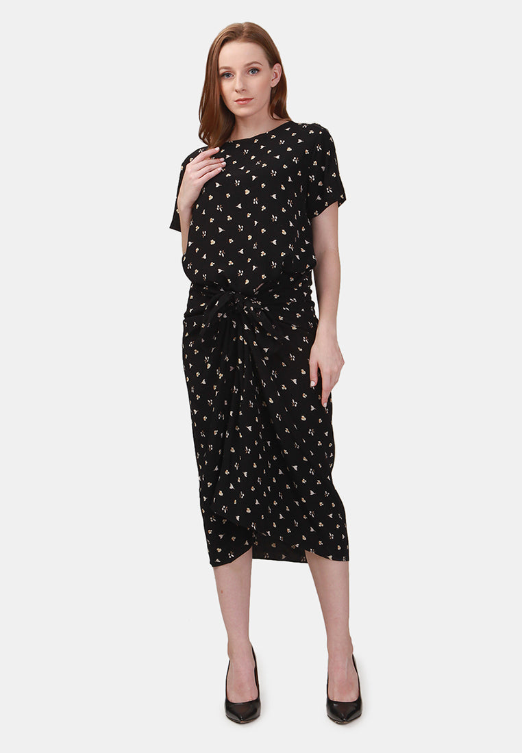 Tie Up Midi Dress - Black