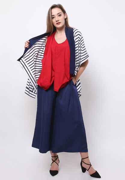 Two Tone Stripe Cardigan - White & Navy