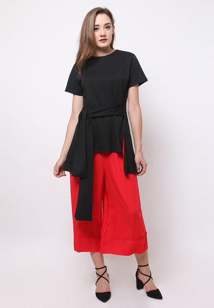 Short Sleeves Tie-Up Blouse - Black