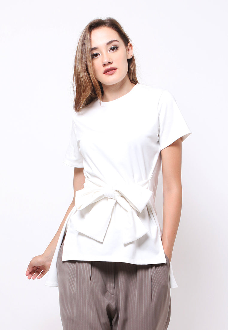Short Sleeves Tie-Up Blouse - White