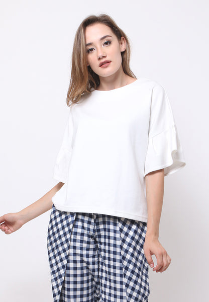 Flounces Sleeves Blouse - White