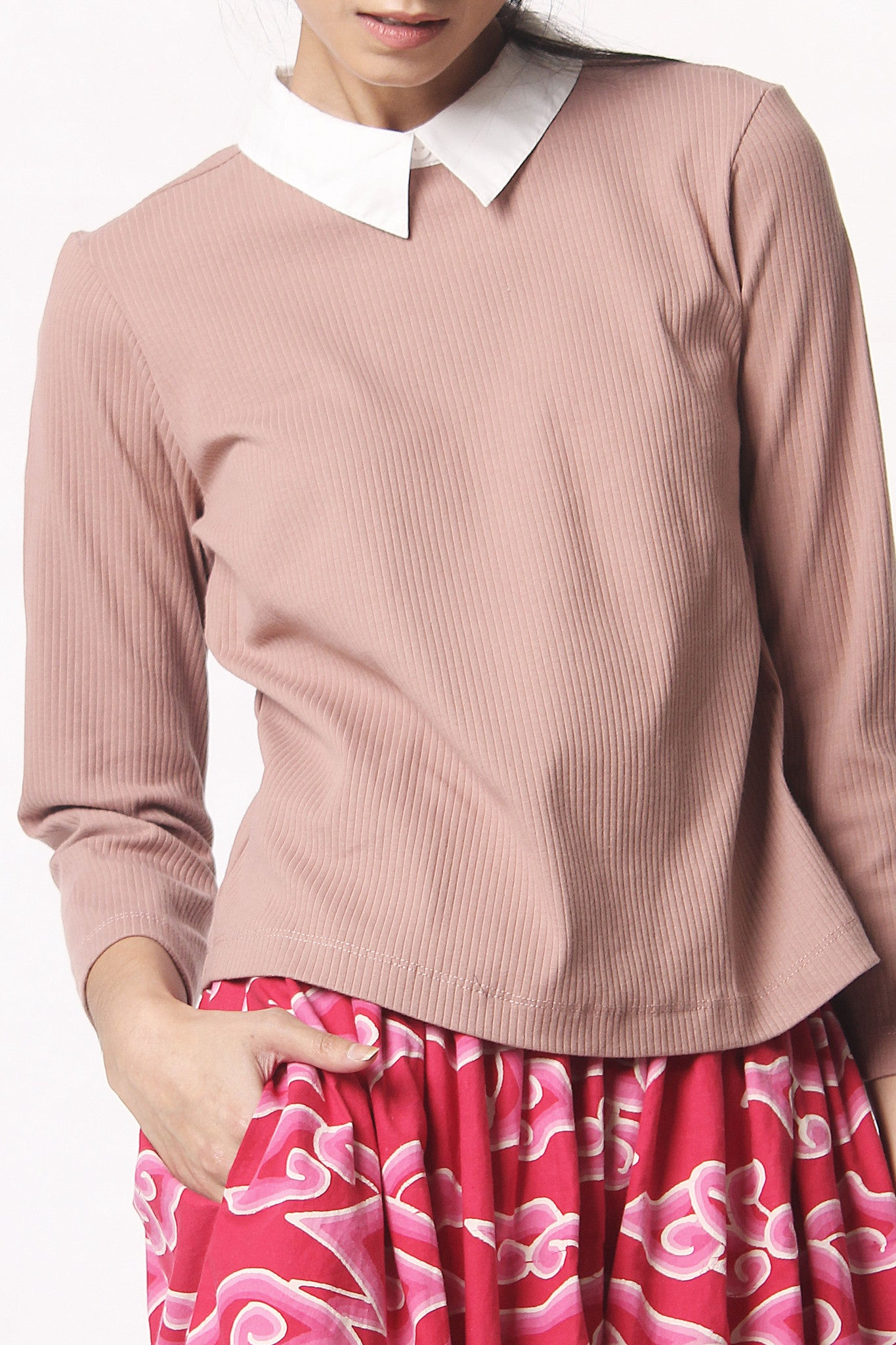 Sweater Shirt High Neck - Brown