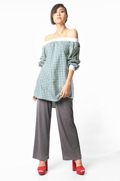 Pattern Off Shoulder Blouse - Green