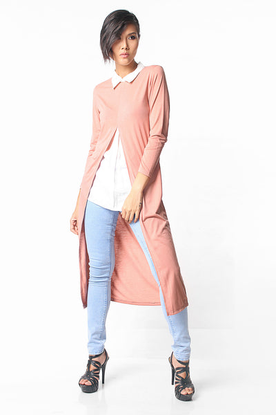 Long Slits Layered Shirt - Dusty Pink