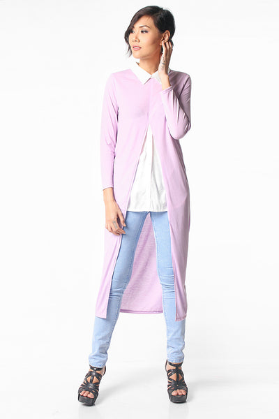 Long Slits Layered Shirt - Purple