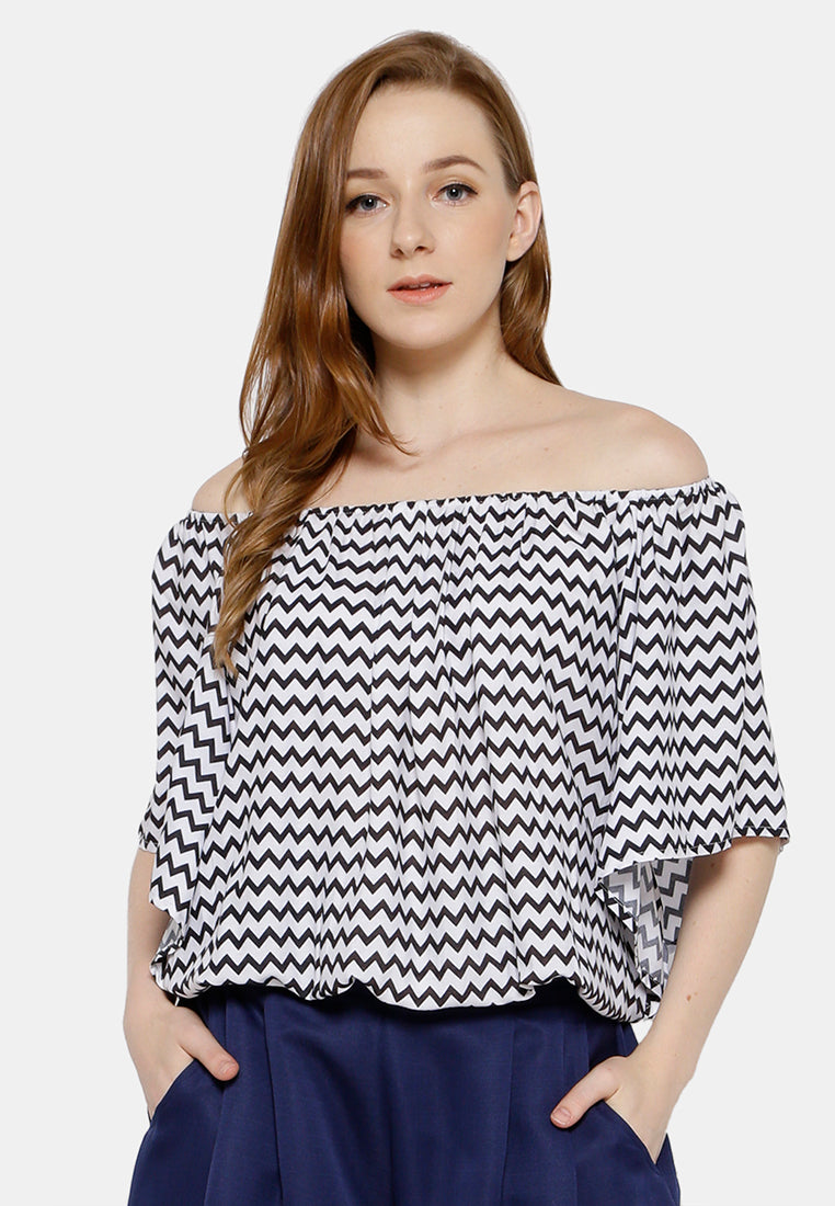 Sabrina Chevron Blouse - Black & White