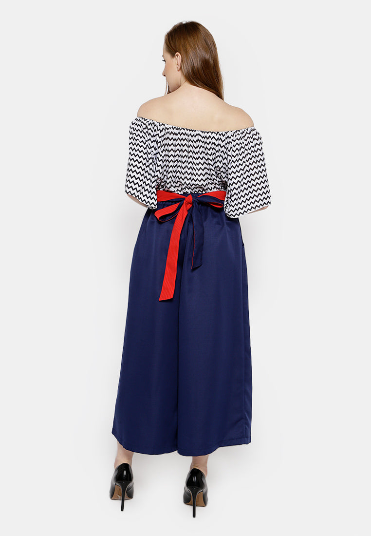 Two Color Belt Culottes - Navy