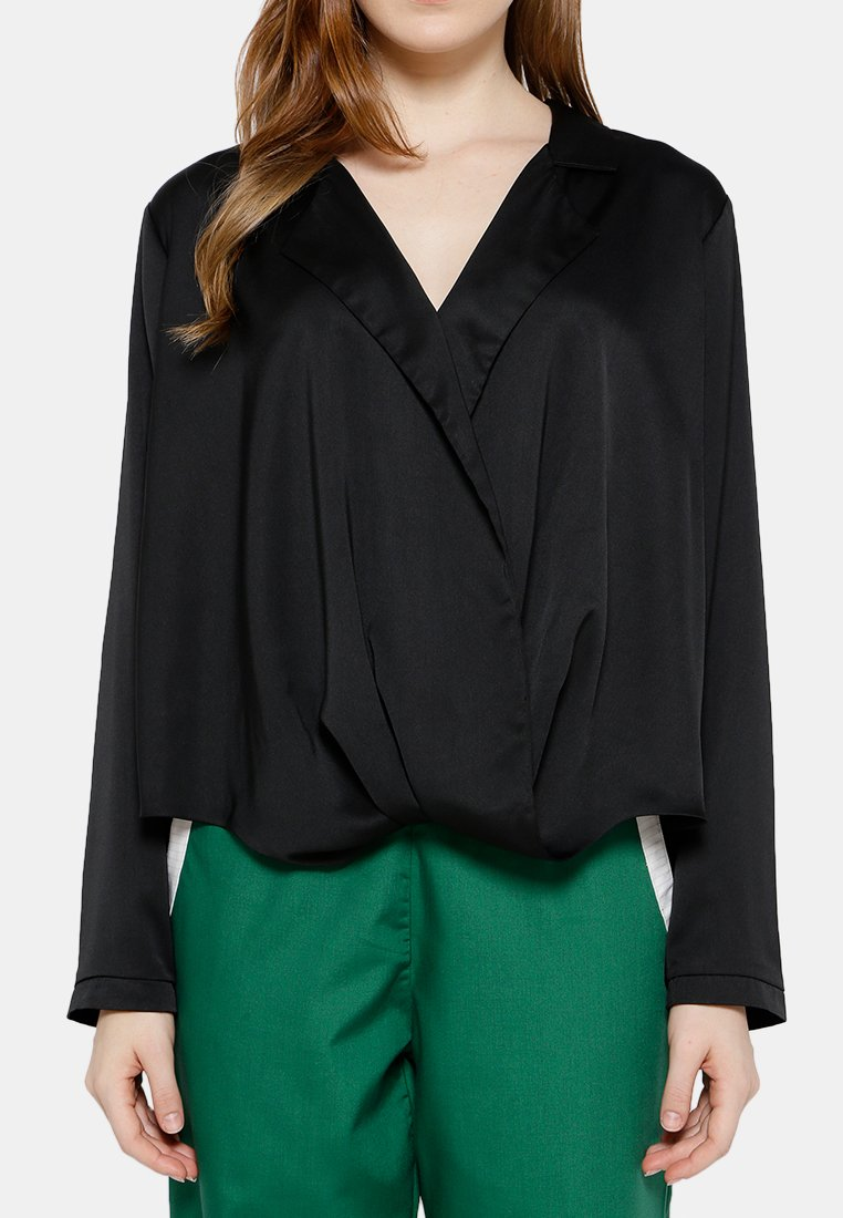 Party Draped Blouse - Black