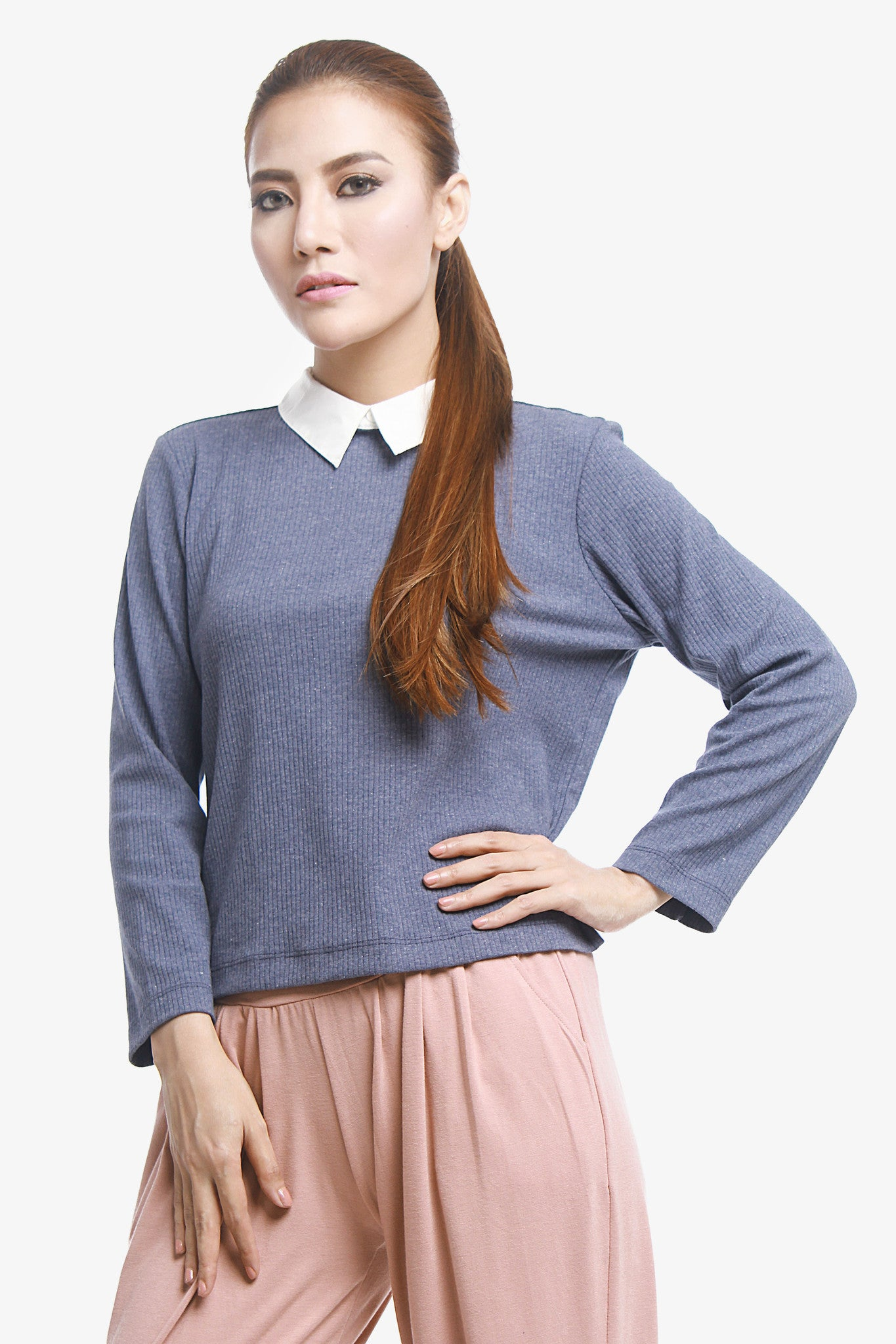 Sweater Shirt High Neck - Blue