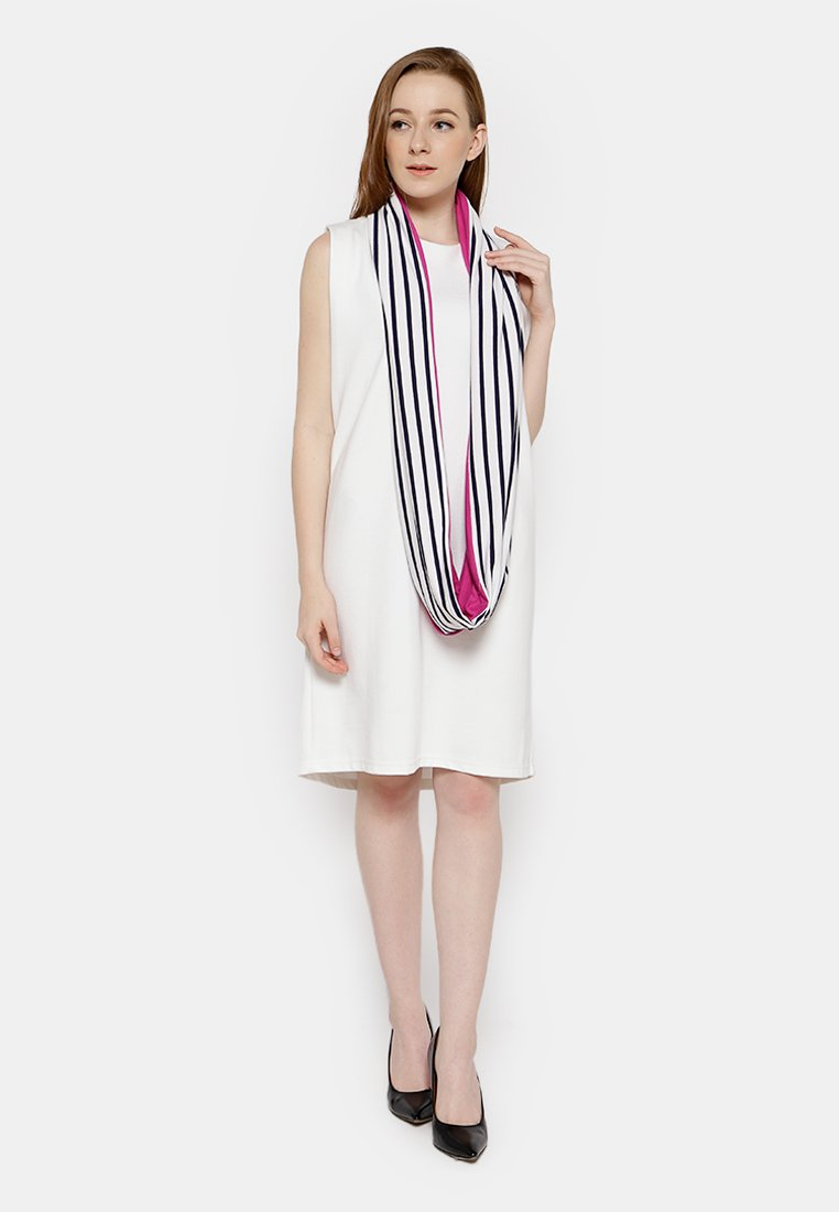 Two Tone Stripe Shawl White - Fuchsia