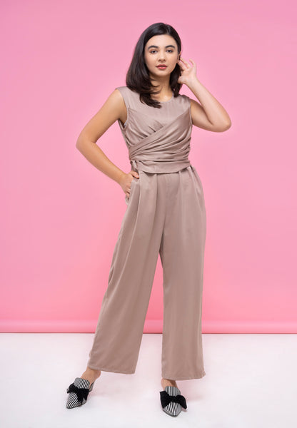 Tie Up Jumpsuit - Brown