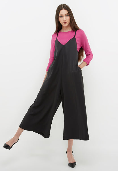 Oversized V-Neck Jumpsuit - Black