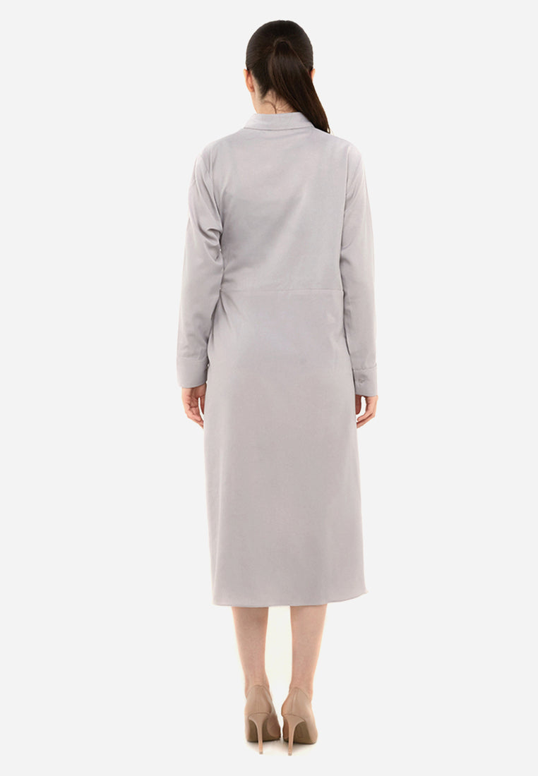 Knot Front Grey Dress