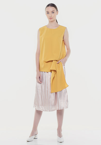 Sleeveless Drapes Blouse - Yellow